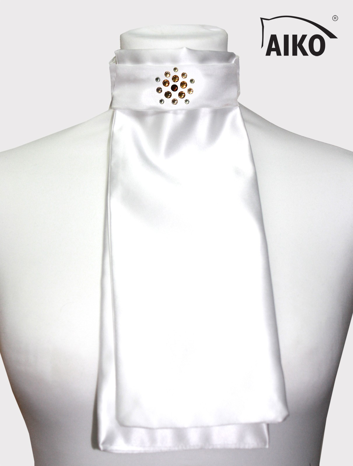 Exklusives Plastron Flower Crystal, weiss-golden shadow