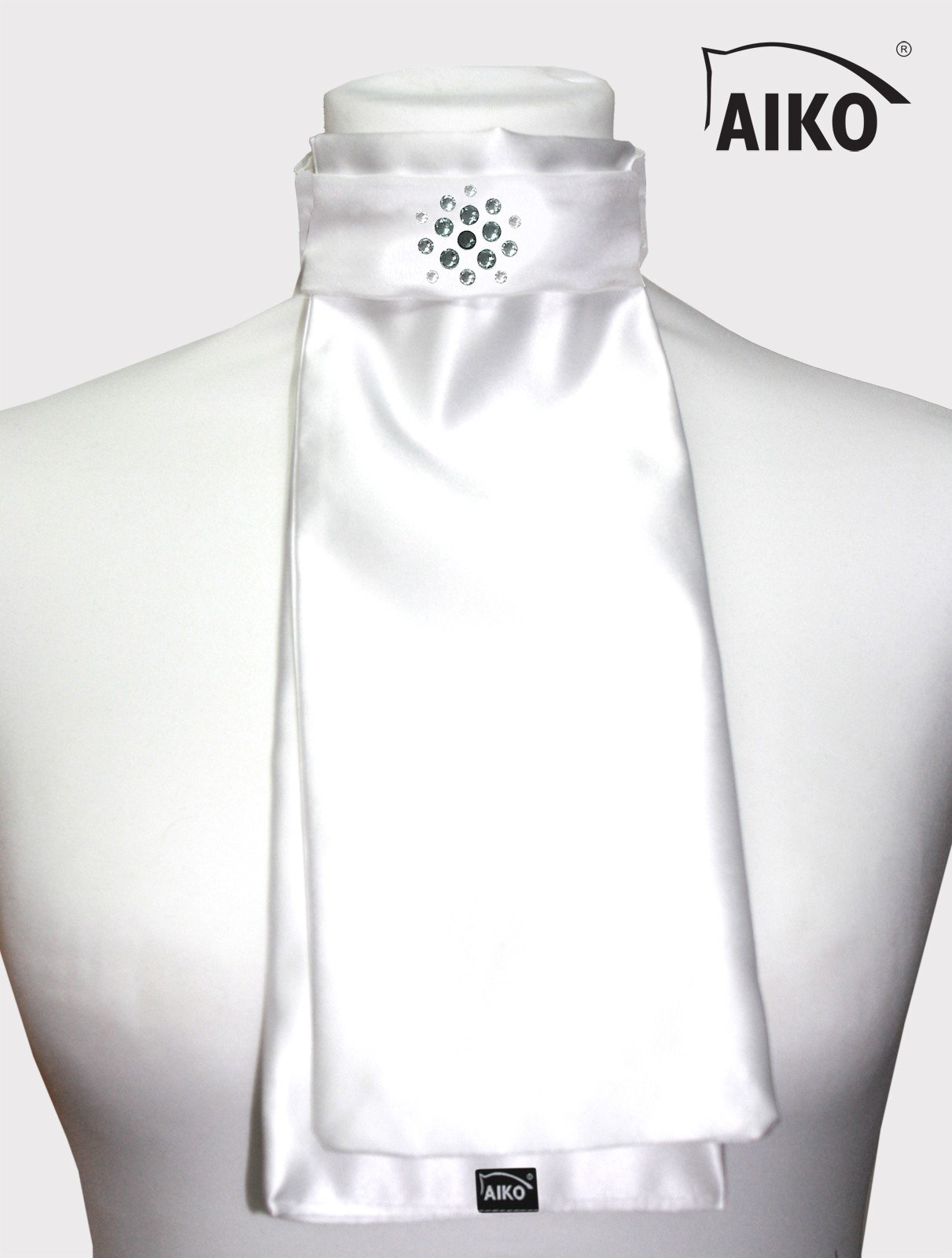 Exklusives Plastron Flower Crystal, weiss-silver diamond