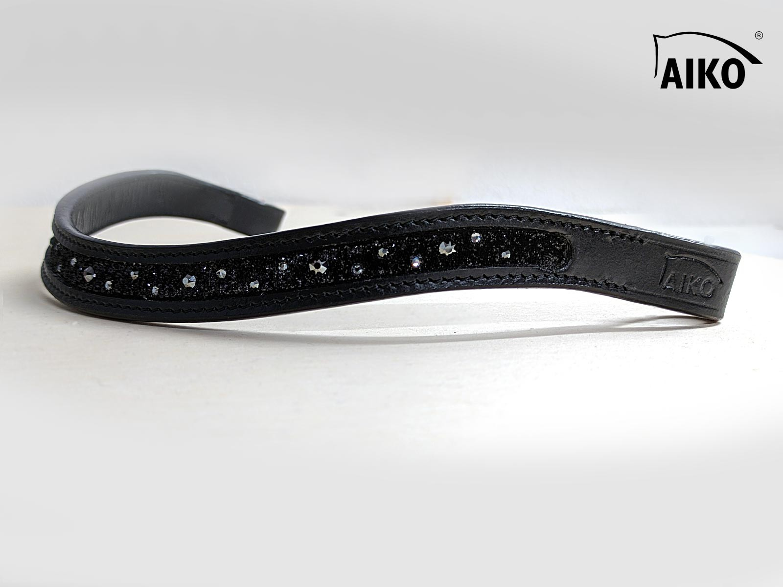 Curved Leather Browband Crystal Shine with inlay, black-blackmetallic
