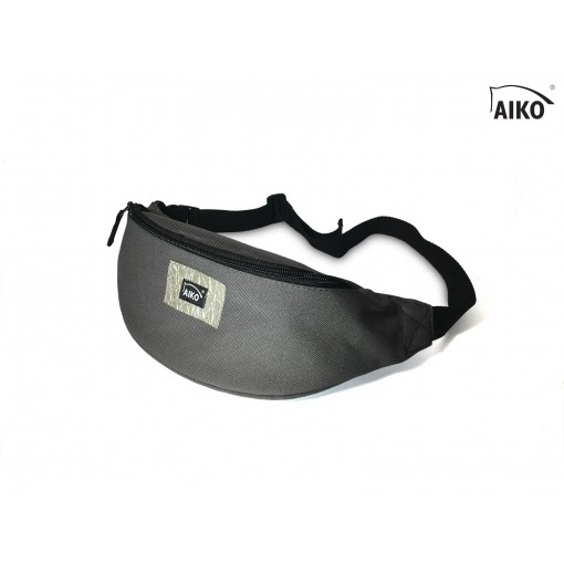 Belly bag with emblem - grey