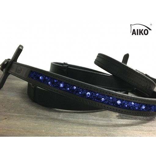 Exclusive Leather Reigns Crystal Shine with Inlay, black-nightblue