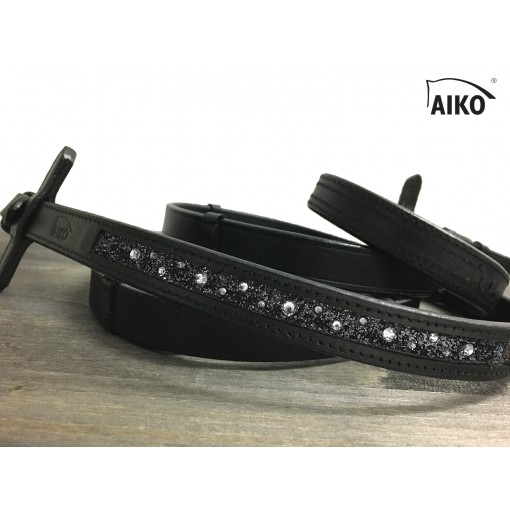 Exclusive Leather Reigns Crystal Shine with Inlay, black-grey