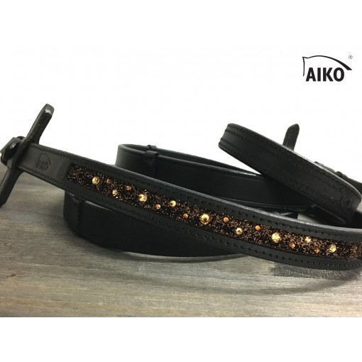 Exclusive Leather Reigns Crystal Shine with Inlay, black-mocca