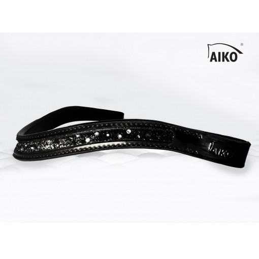 Curved Lacquer-leather Browband Crystal Shine with inlay, black-black